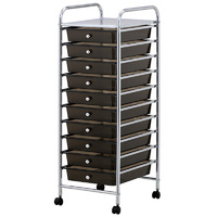 Black Plastic Storage10 Tier with Metal Trolley Shelf and Slide-Out Drawers