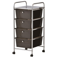 Black Plastic Storage 4 Drawer with Metal Trolley Shelf and Slide-Out Drawers