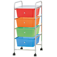 Color Plastic Storage 4 Drawer with Metal Trolley Shelf and Slide-Out Drawers