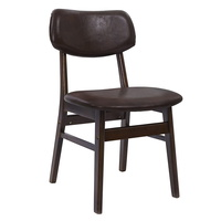 2 x Artiss Dining Chairs Retro Replica Kitchen Cafe Wood Chair Fabric Pad Brown