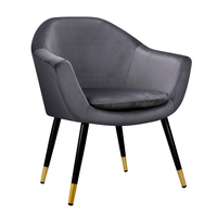 Artiss Armchair Accent Chair Retro Wooden Armchairs Single Sofa Velvet Seat Grey