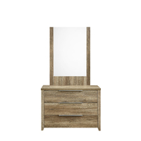 Alice Dressing Chest Mirror Makeup Table with 3 Drawers Wood