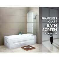 700 x 1450mm Frameless Bath Panel 10mm Glass Shower Screen By Della Francesca