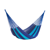 King Size Outdoor Cotton Hammock in Caribean Blue