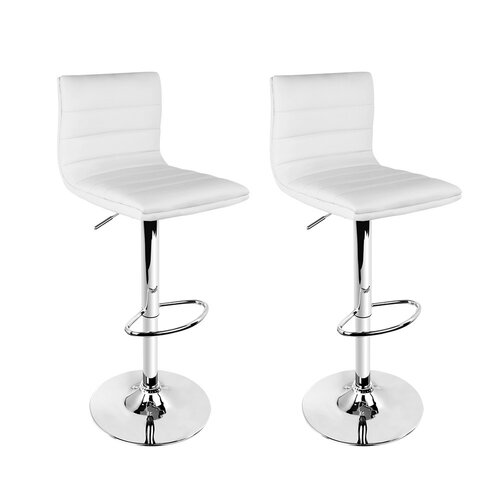 Artiss 2x Leather Bar Stools ARNE Swivel Bar Stool Kitchen Chairs White Gas Lift White