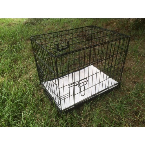 30' Collapsible Metal Dog Crate Cage Cat Carrier With Mat