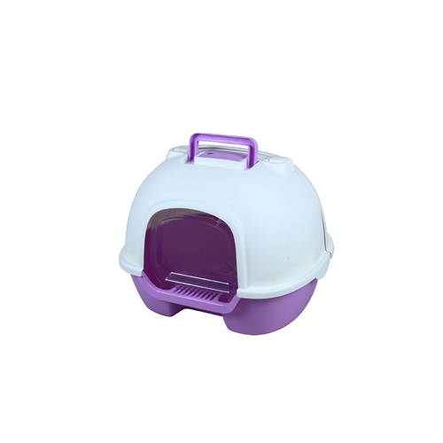 Portable Hooded Cat Toilet Litter Box Tray House with Handle, Scoop and Charcoal Filter