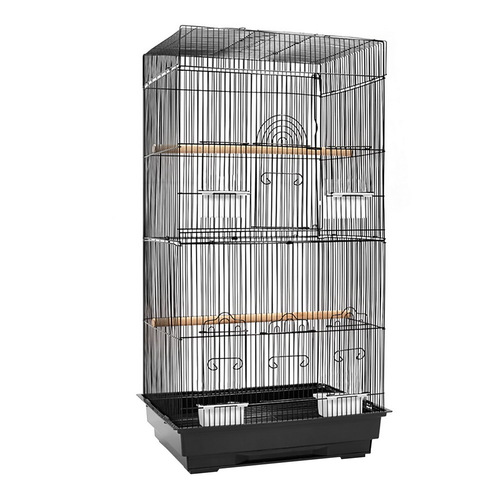 Medium Bird Cage Parrot Budgie Aviary with Perch - Black