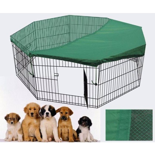 24' Dog Rabbit Playpen Exercise Puppy Rabbit Enclosure Fence With Cover